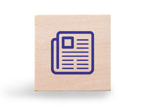 wooden block with document icon